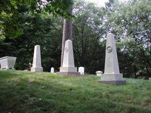 View of monuments that line the outer ring of Harvard Hill